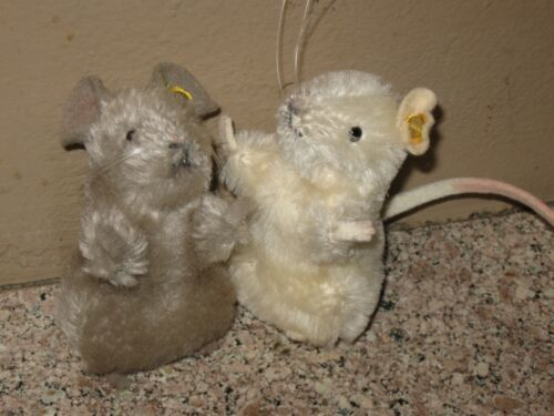 Pair Of Vintage Steiff Mohair Mice- Mouse- With buttons- No tags