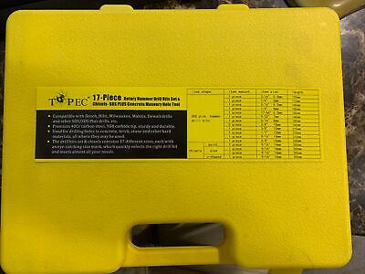 Topec 17pcs Sds Rotary Hammer Drill Bits Chisel Bits Hole Tool Set Masonry