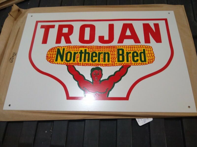 Trojan Northern Bred Seed Corn Sign man cave metal sign