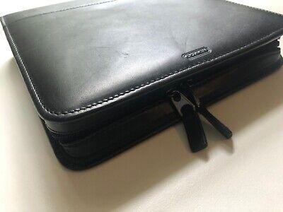 Coach Palm Pilot Organizer Phone Case Black Leather Mini Portfolio Planner Zip