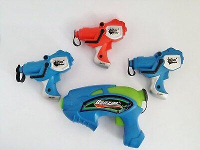4 SQUIRT GUNS Water Banzai Aqua Blaster pistol squirting toy gun Blue Red SET