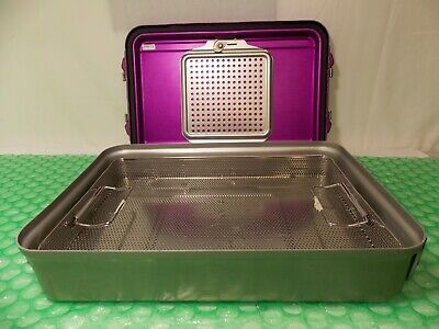Genesis Solid V. Mueller Cd2-4c Purple Sterilization Container With Inside Tray