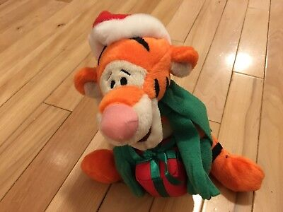 Vintage Xmas Holiday TIGGER with present  Plush Stuffed Toy DISNEY Santa Hat for sale  Middletown