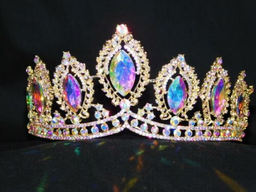 Gold AB Iridescent Rhinestone Crystal Queen Tiara Crown Wedding Pageant /1212