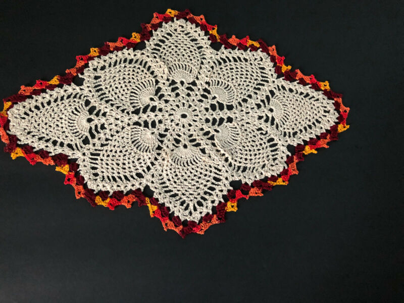 Rand New Hand Crocheted Fall Falling leaves Centerpiece Doily