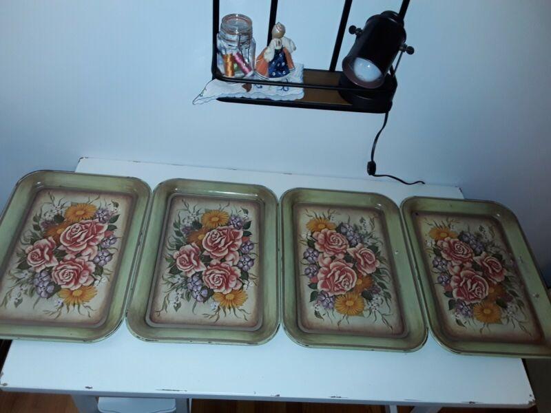 Metal TV Lap Trays Vintage Rose set of Four