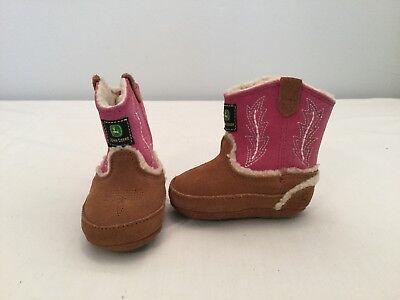 Johnny Popper (John Deere Johnny Popper Infant Baby Girls Pink/brown Crib Boots~size 2 M)