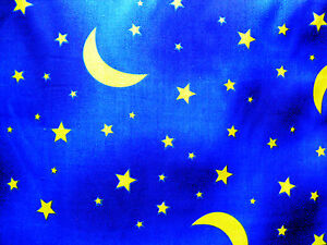 1m blue yellow moon stars night sky fabric poly cotton for Night sky fabric uk
