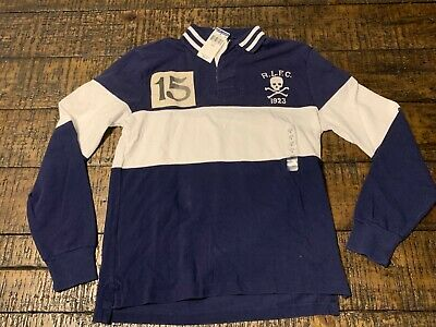 Polo Ralph Lauren Custom Fit L/S Blue Football Club Skull Patch Rugby Polo  Sz (Polo Club Ralph Lauren)