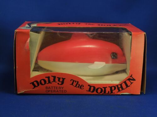Dolly the Dolphin Toy Vintage Mid-Century with Original Box Swims Spouts Water
