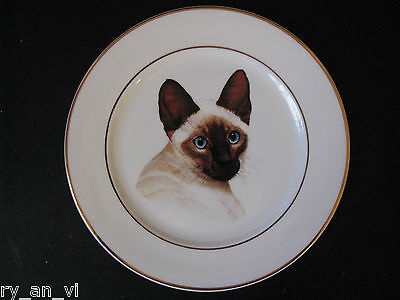 Stunning SIAMESE CAT Vintage Bone China PLATE with Crown Mark