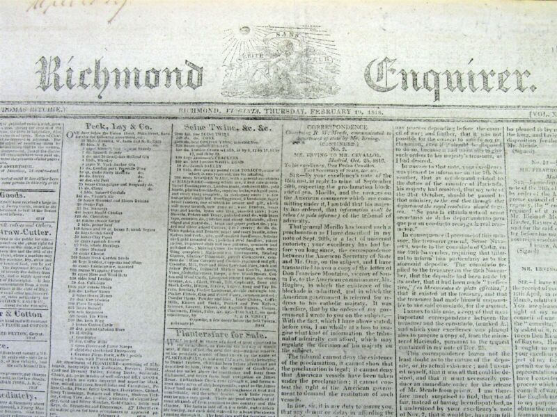 Rare original 1818 Richmond Virginia newspaper with 2 front page SLAVE ADS