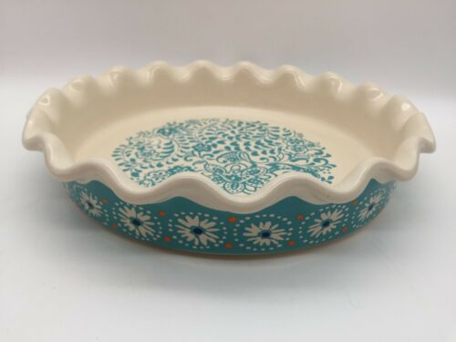 """PIONEER WOMAN PIE PLATE BAKING DISH TURQUOISE BLUE FLORAL RUFFLED CRIMPED 9"""""""