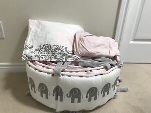 Baby girl crib bedding - pink and grwy