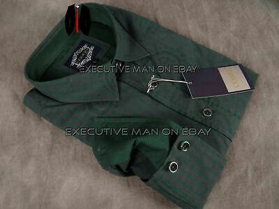Mens CESARI by PLATINI Button Shirt Green Checks Under Paisley Jacquard Slim Fit Green Paisley Shirt