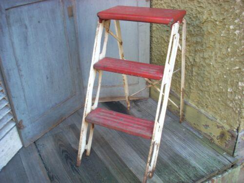 Vintage Red & White Folding Metal Step Ladder