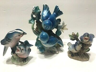 Vintage Stoneware Bird on Tree Branch Figurine Candle Holder with Three Birds and Ceramic Tree White Brown Blue Free Shipping