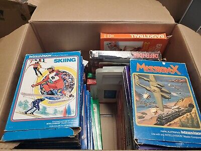 LOT OF 37 VINTAGE INTELLIVISION VIDEO GAMES CARTRIDGES & BOXES 90%+ complete cib