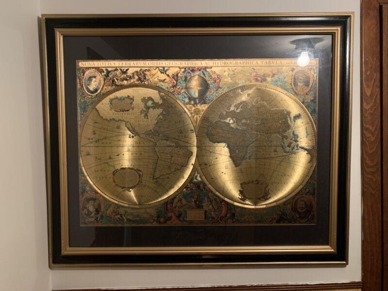 Nova Totivs Terrarvm Orbis Geographica AC Hydrographica Gold Foiled World Map