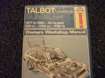 Haynes Owners Workshop Manual TALBOT/CHRYSLER SUNBEAM 1977 to 1982 (435)