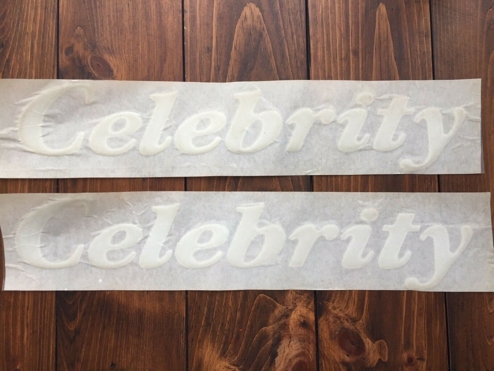Celebrity Boat Side Stickers Decals White NOS Vintage 17 3/4'' Pair Original NEW