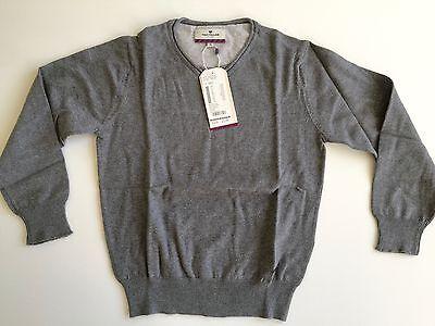 V-ausschnitt Jungen Pullover (NEU! Tom Tailor Jungen Pullover Gr 140 S 100% Baumwolle grau V-Ausschnitt NP 35)