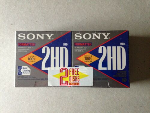 Sony 2HD3.5 Floppy Disks: Formatted IBM 2  10 Packs +2 free NEW SEALED