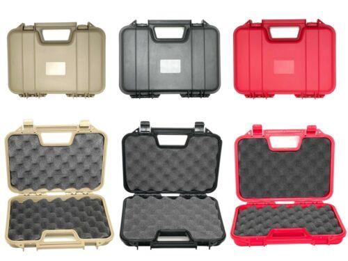 Gun Pistol Hand Gun Revolver Hard Storage Lockable Case Safe - Black Red Tan