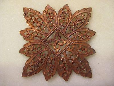 Antique French Filigree, 1920s Ornate Dapt Flower, Snowflake, Die Struck Brass