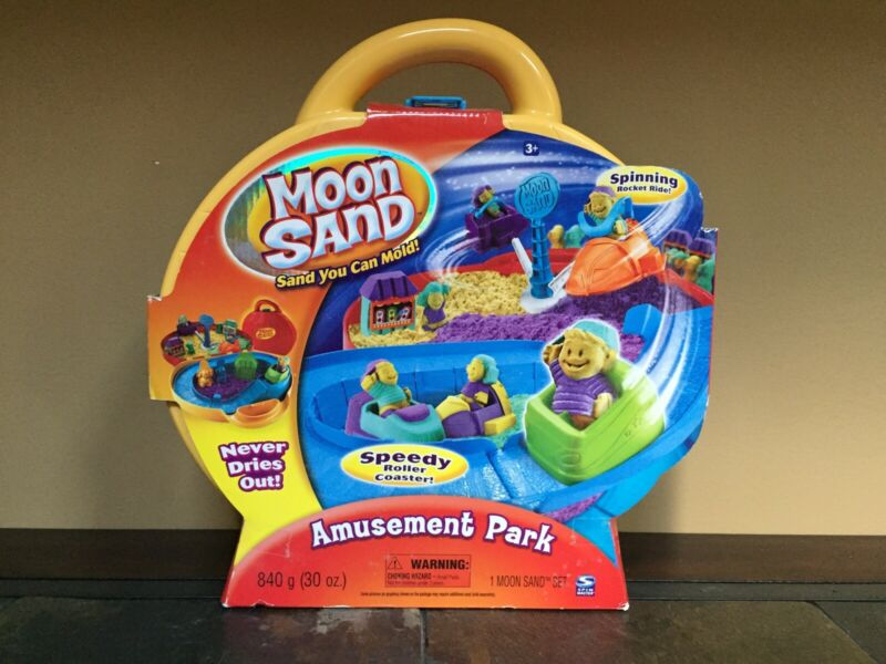 Moon Sand Amusement Park NIB includes Refills of 10oz each Yellow Green Purple