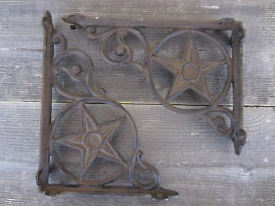 2 Cast Iron Antique Star Brackets Garden Braces Shelf Bracket RUSTIC Vintage