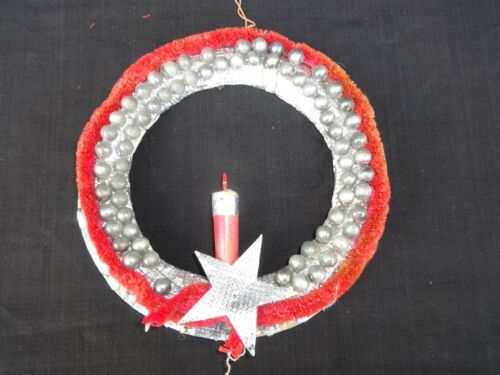 Vintage Red Chenille Christmas Wreath with Candle & Mercury Glass Ornaments