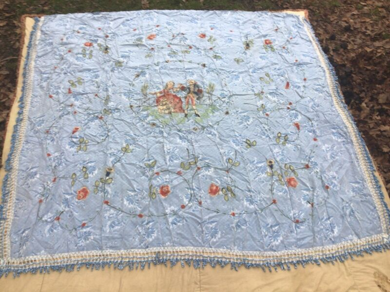 Antique Italian Hand Painted Fringed Coverlet Satin Blue Bedspread Floral