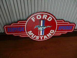 Ford-Mustang-Metal-Tin-Sign-bar-garage-petrol-oil-car-hot-rod-chev-V8-Service