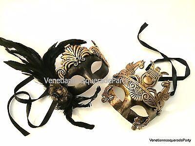Gladiator Couples Costumes (Couple Masquerade mask Halloween Costume Prom Steampunk Roman Gladiator)