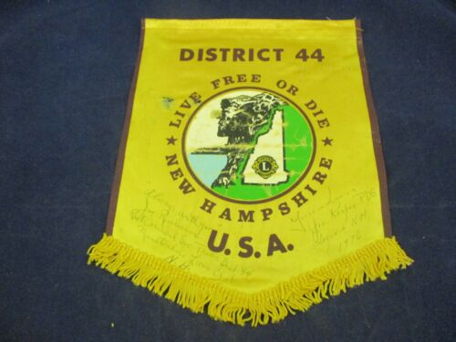 Vintage Lions Club Banner Flag 1976 Laconia New Hampshire SIGNED Joe Kasper D.G.