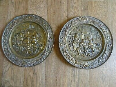 PAIR ANTIQUE BRASS WALL HANGING CHARGER PLATES - STREET SCENE 36 cm