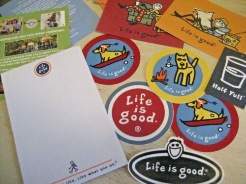 Lot 13 Vtg LIFE IS GOOD PACK Stickers Postcards 2 Frame Notepad Story Card Decal