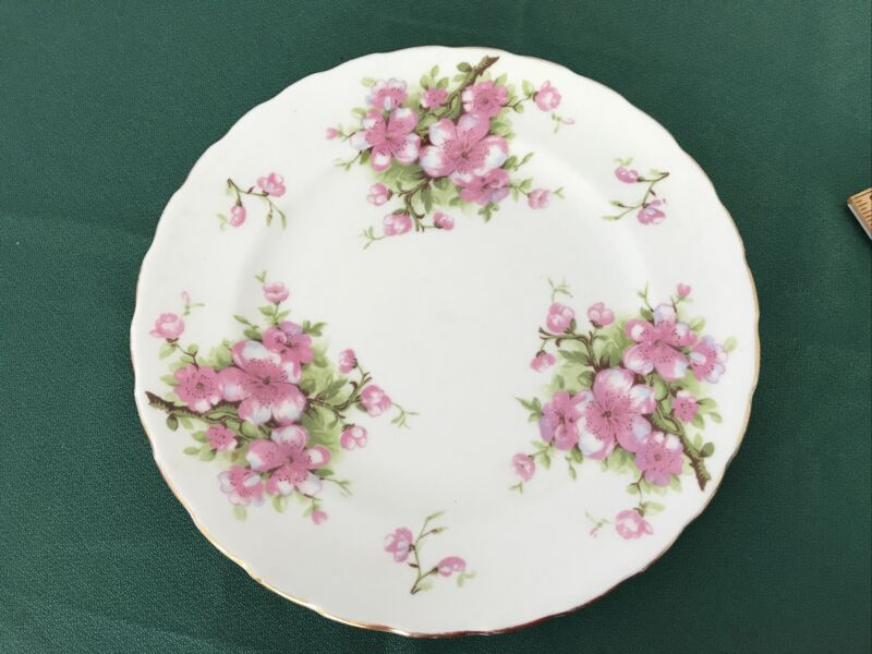 "Vintage Royal Chelsea PEACH BLOSSOM 8"" Bone China salad lunch Plate Excellent"