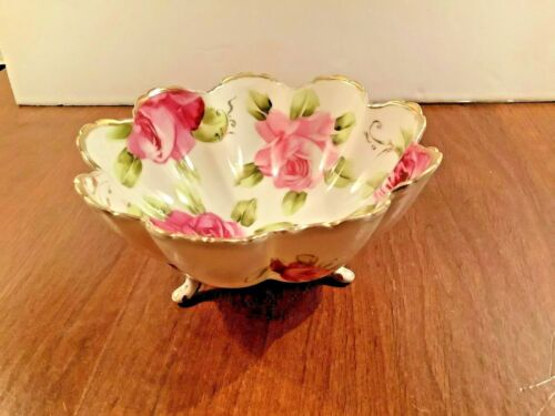 Antique Hand Painted Porcelain Pink Rose Gold Trim Candy Bowl Soap Dish