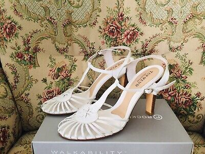 TOP END White Genuine Leather Strappy Heels 'ALEVI STYLE' Size 10 RRP $189