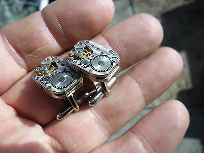 Lovely Pair Vintage Watch Movement Cufflinks Wedding Christmas Steampunk Gift