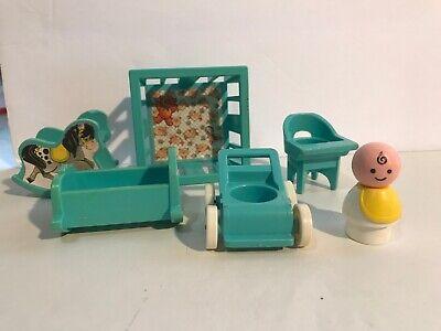 Vintage Fisher Price Little People Baby & 5 Piece Nursery Furniture Set! 1972