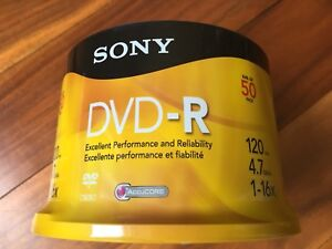 Sony DVD -R, 50 Disk spindle. 120 mins, 4.7 GB, 1-16x.