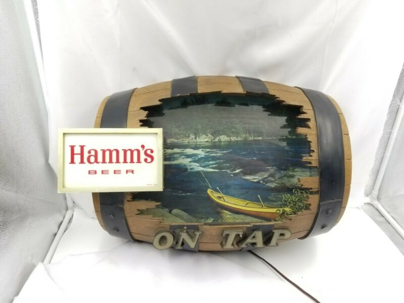 Hamms Beer Barrel Sign Canoe Northwoods  Scene Non Motion Hamms Sign