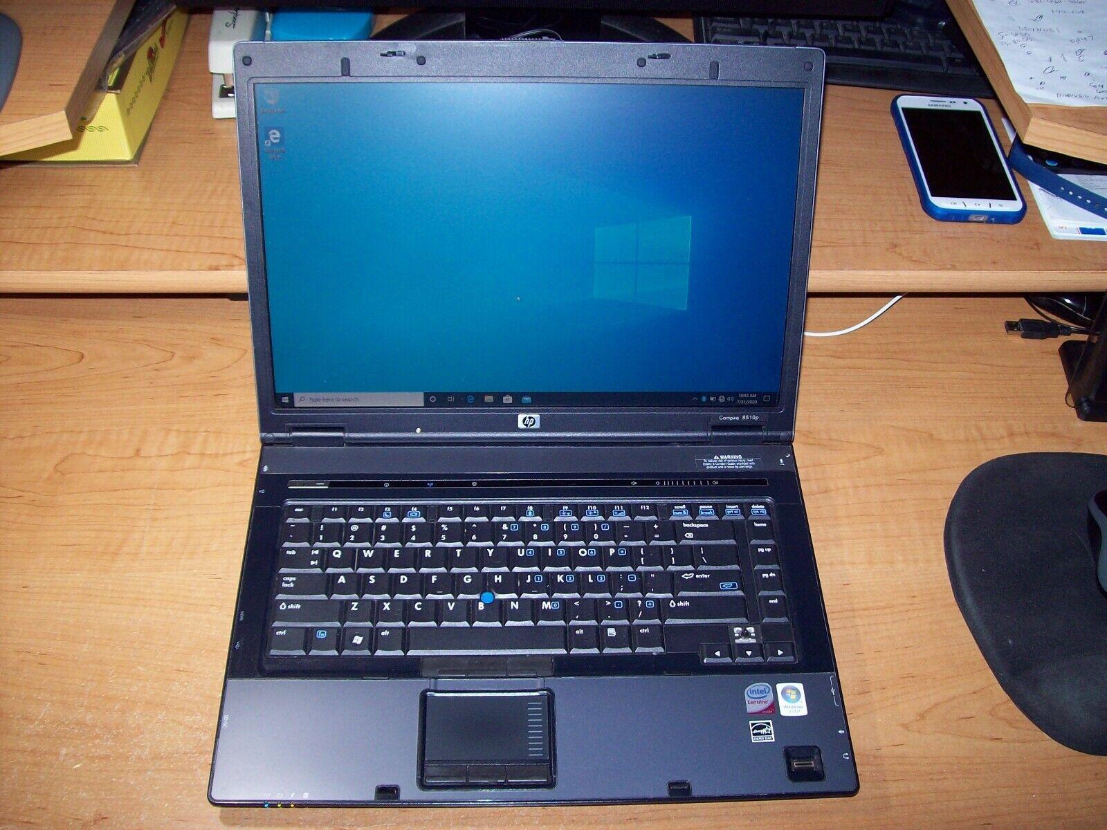 """Laptop Windows - HP COMPAQ 8510P 15""""LAPTOP WINDOWS 10 PRO 2GB 250GB HD CD DVD RW BLUETOOTH"""