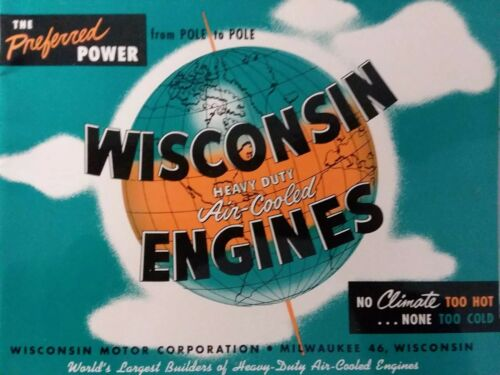 Photo Wisconsin Engine Motor Color Sale Brochure Manual 1 2 4 Cylinder Air-Cooled 1953