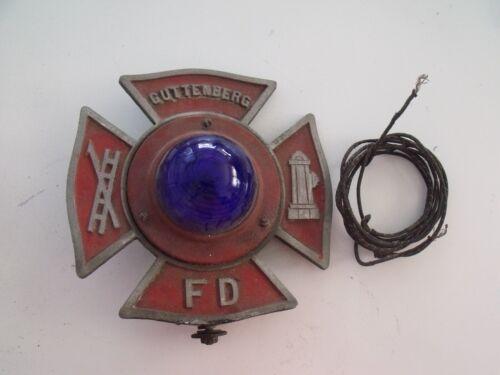 Guttenberg, N.J. Maltese Cross Blue Light Fire Truck License Plate Topper