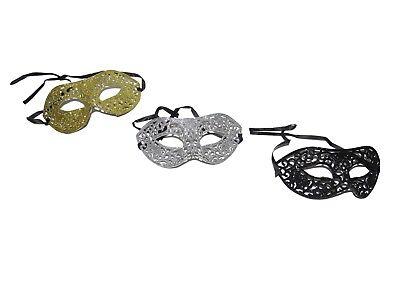 x12 BLACK SILVER GOLD GLITTER MASQUERADE MASKS BULK WHOLESALE PARTY HEN VENETIAN - Venetian Masks Wholesale