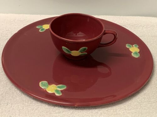 """COORS POTTERY   """"ROSEBUD""""   CAKE PLATE PLUS COFFEE CUP  --  ROSE COLOR"""